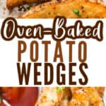 baked wedges with tomato ketchup with text
