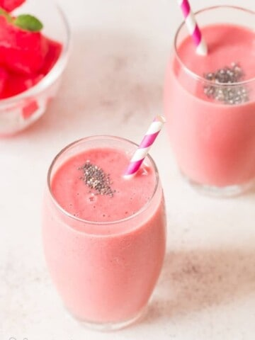 strawberry watermelon smoothie served in two glasses
