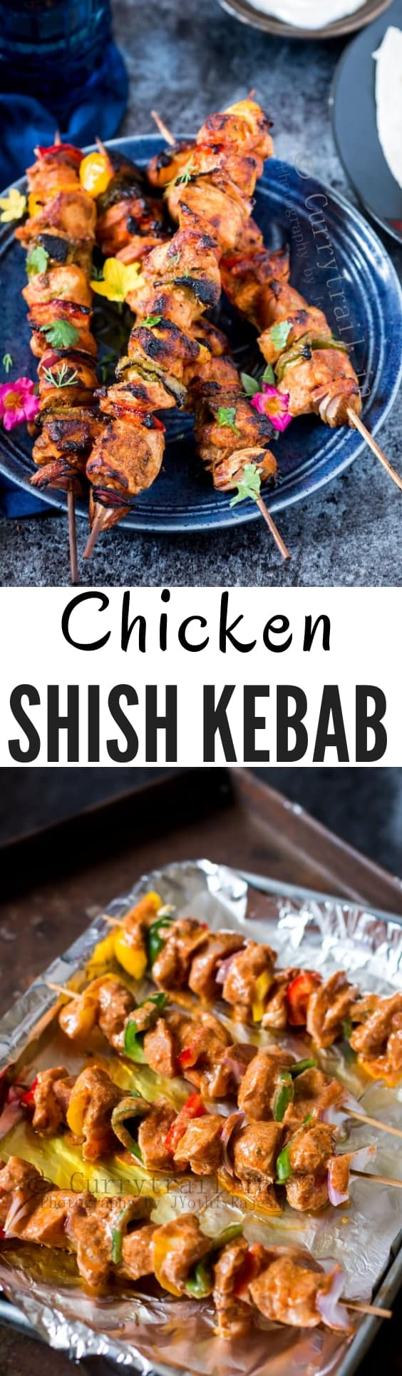 chicken shish kebab with text overlay