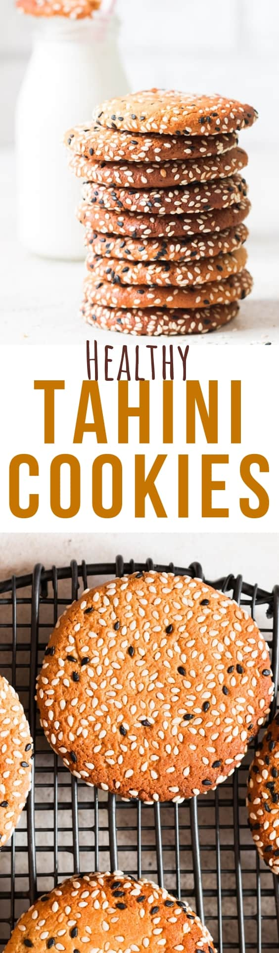 homemade cookies with tahini and text overlay