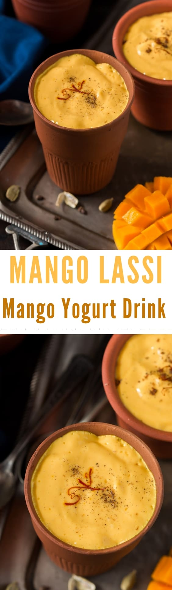 Mango lassi served in earthen pots with text overlay
