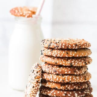 Milk and tahini cookies stack