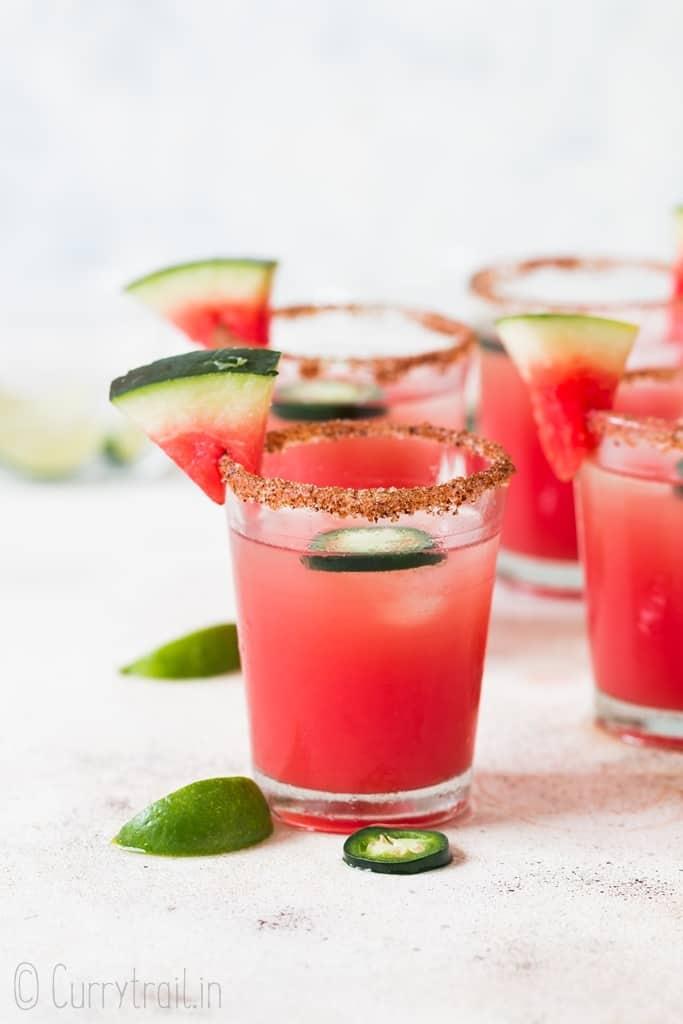 small glasses of watermelon margaritas
