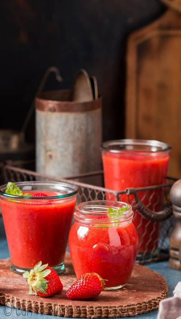 cold soup of strawberry gazpacho in glasses