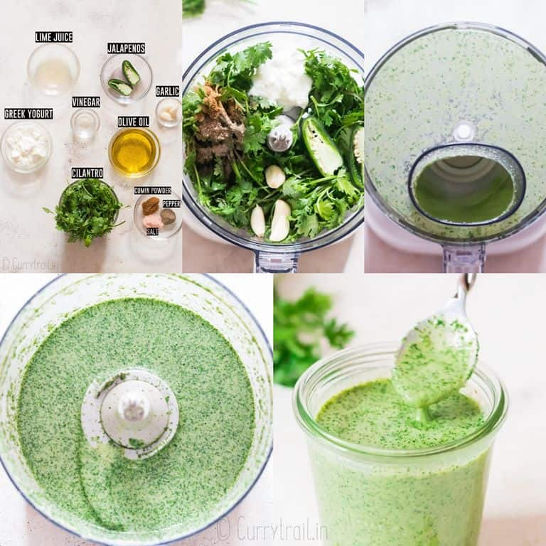 step by step picture collage of making cilantro sauce in food processor