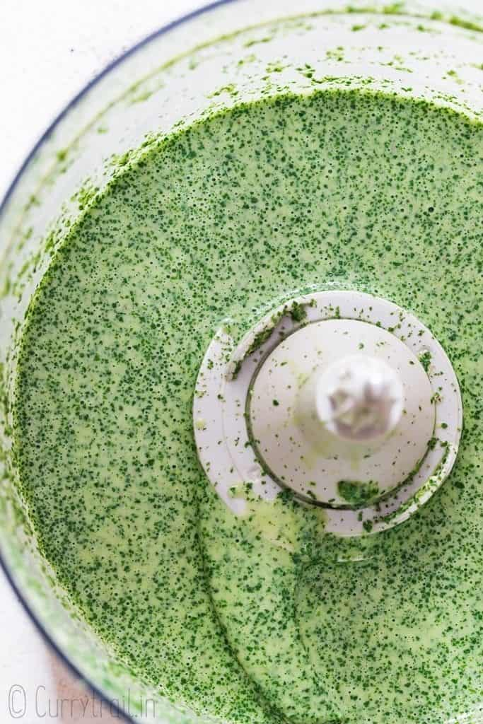cilantro sauce blended in a food processor