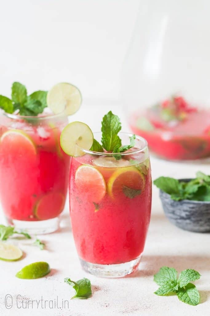 best summertime watermelon mojito cocktail made with ripe watermelon and rum