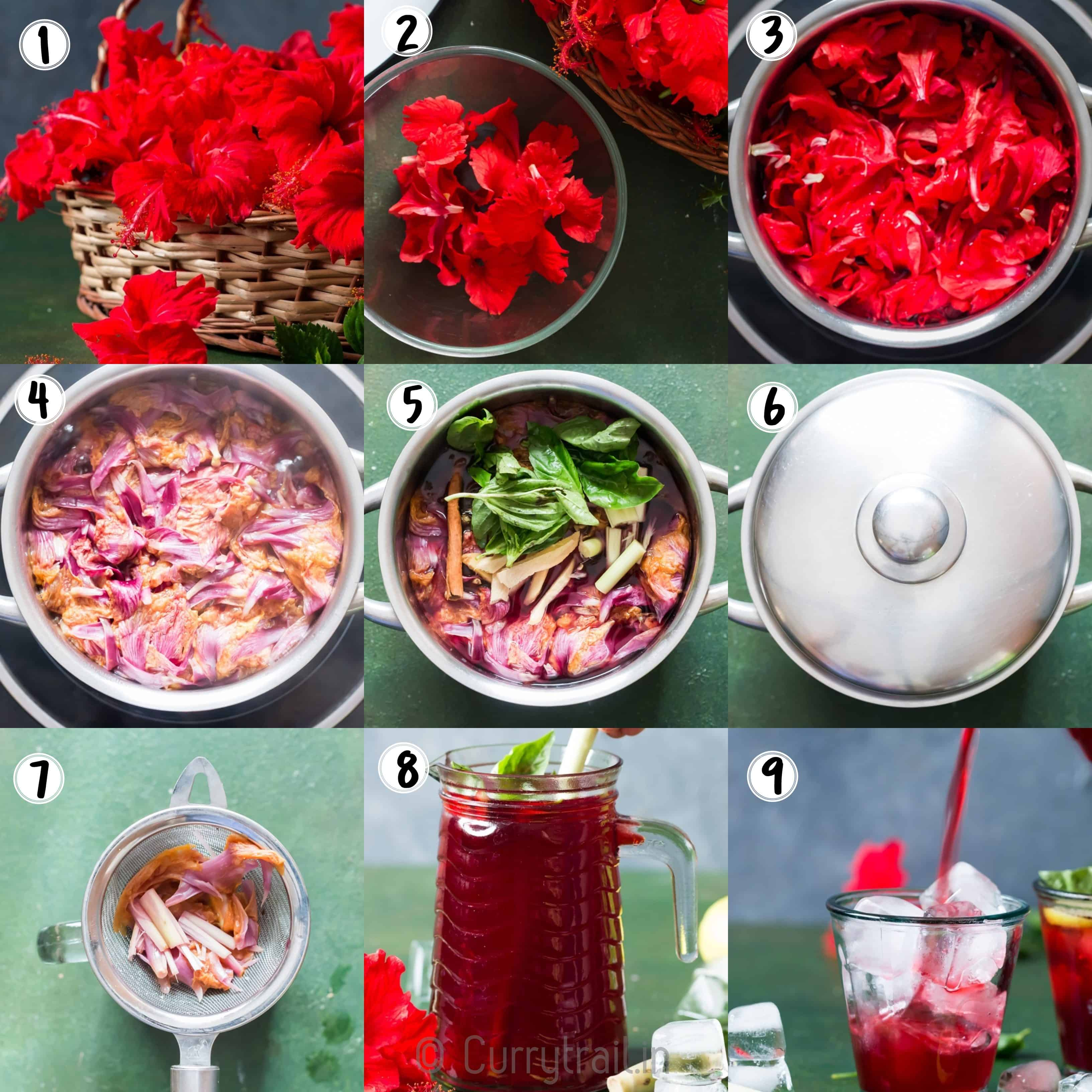 hibiscus iced tea step by step pictorial