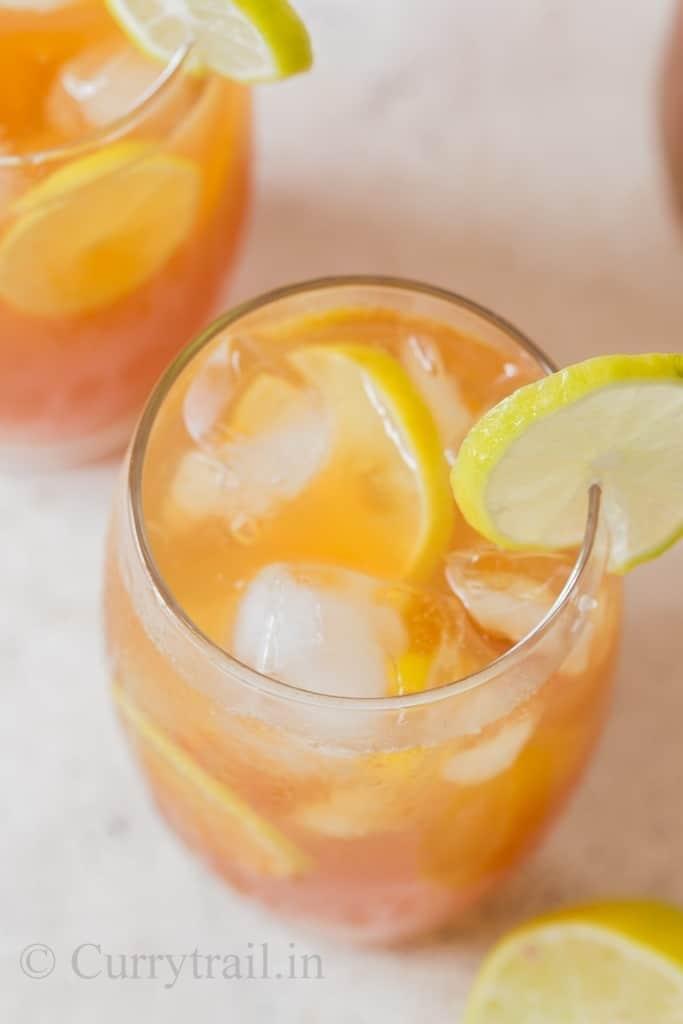 iced lemon tea glasses