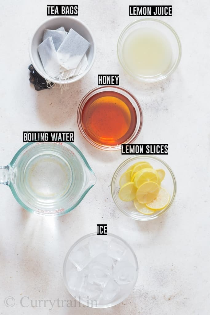 ingredients list of sweet lemon iced tea recipe