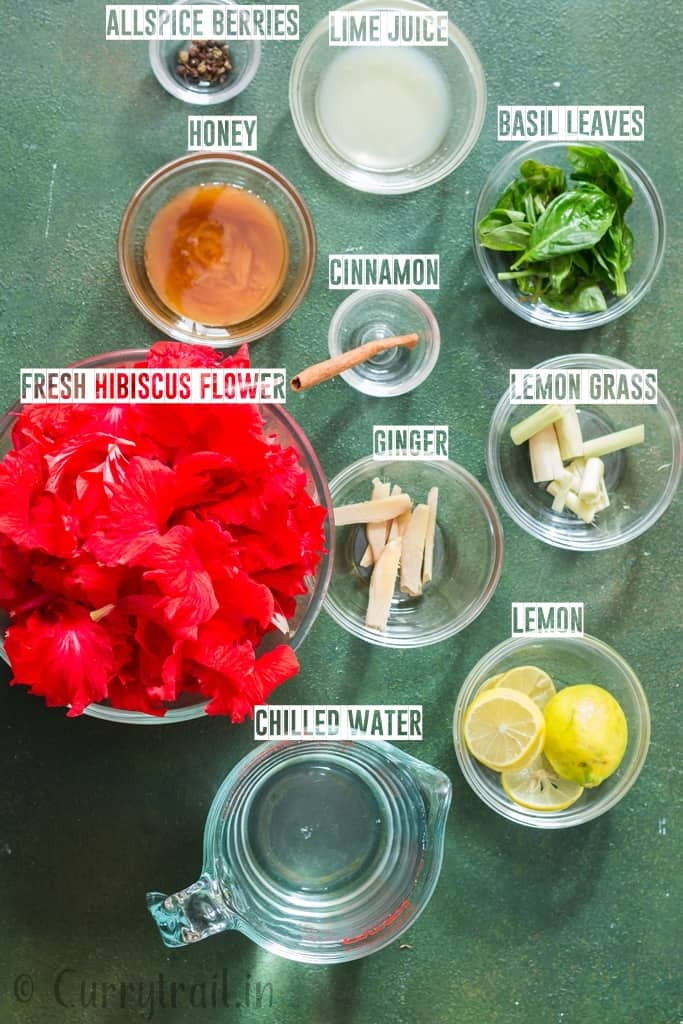 ingredients for hibiscus tea