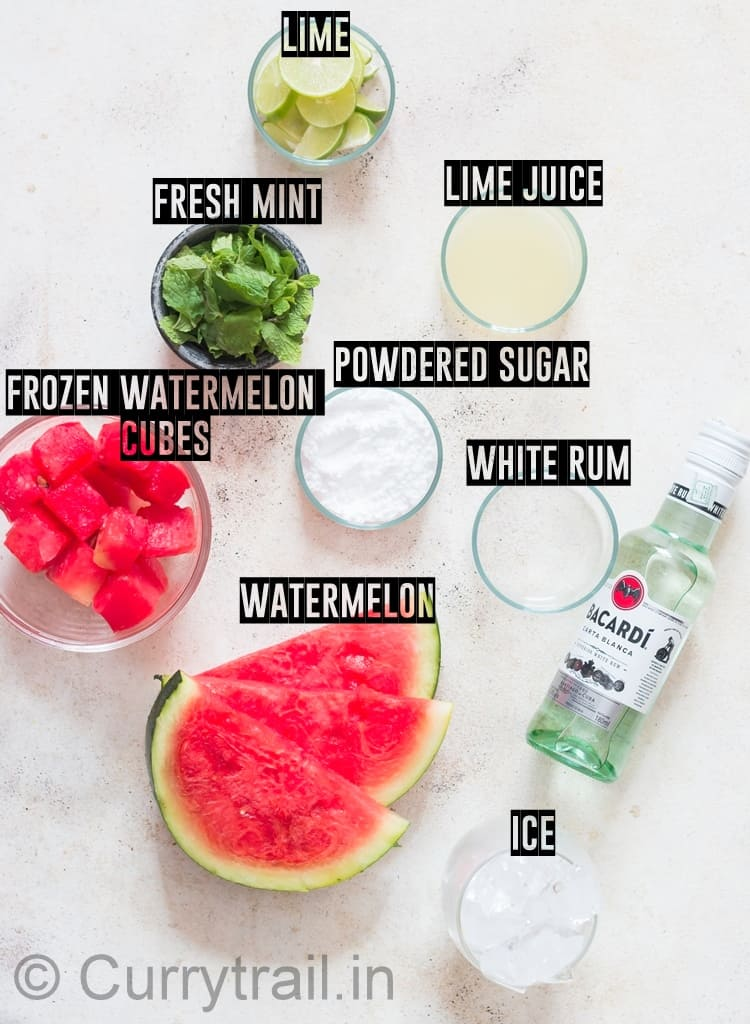 ingredients for summer watermelon mojito recipe