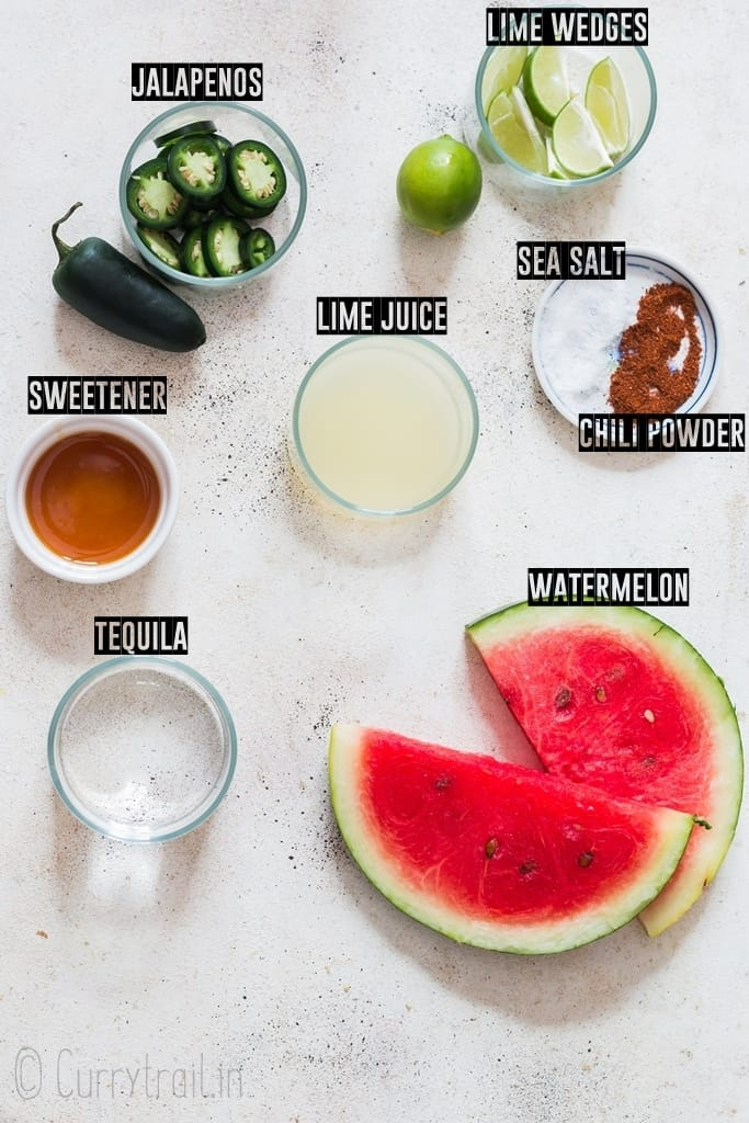 Ingredients for spicy watermelon margarita