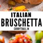 fresh tomato bruschetta on wooden board with text