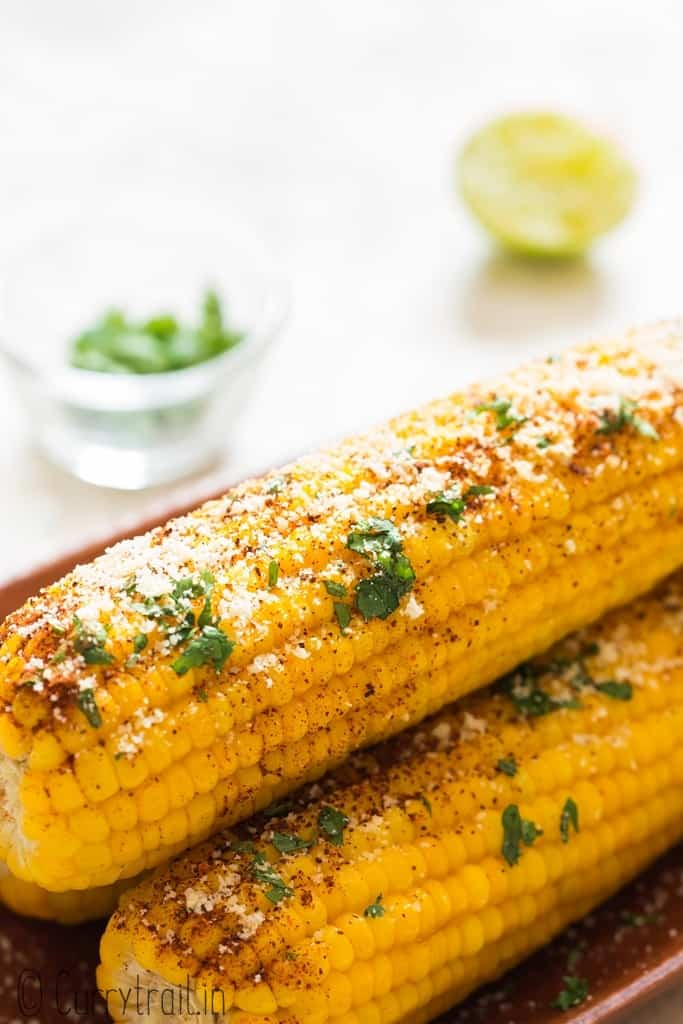 3 boiled instant pot corn on the cob with butter lime chili Parmesan