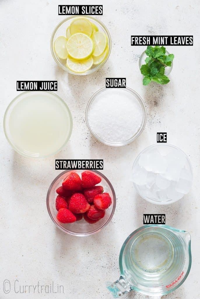 ingredients for homemade strawberry lemonade recipe