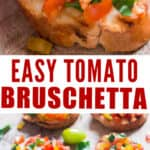 bruschetta with fresh tomatoes on wooden board with text