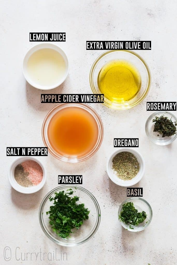 ingredients for 3 salad dressing recipe
