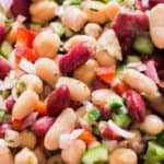 close up for 3 bean salad in bowl