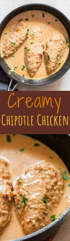 creamy chipotle chicken dish in cooking pan with text overlay