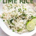 lime and cilantro rice in white bowl with text overlay