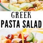 pasta salad Greek style served in glass bowl