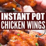 juicy sticky chicken wings cooked in instant pot with text