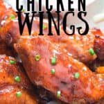 fall off bone tender chicken wings cooked in instant pot with text