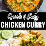 quick and easy chicken curry served with rice with text overlay
