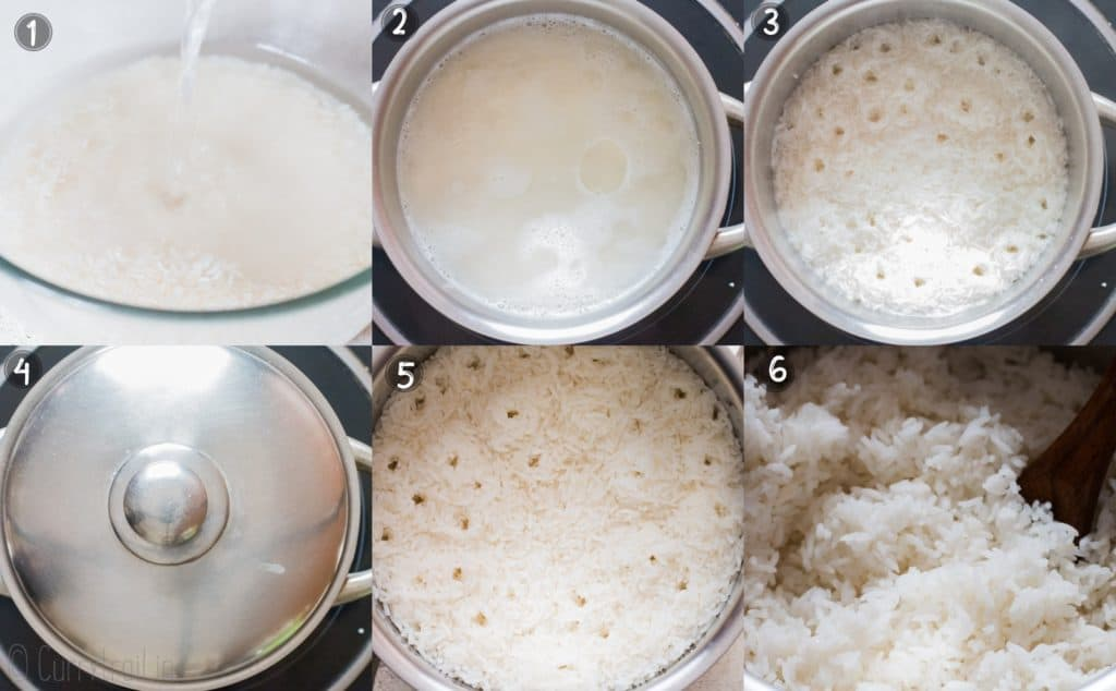 perfectly cooked steamed rice step by step photo collage
