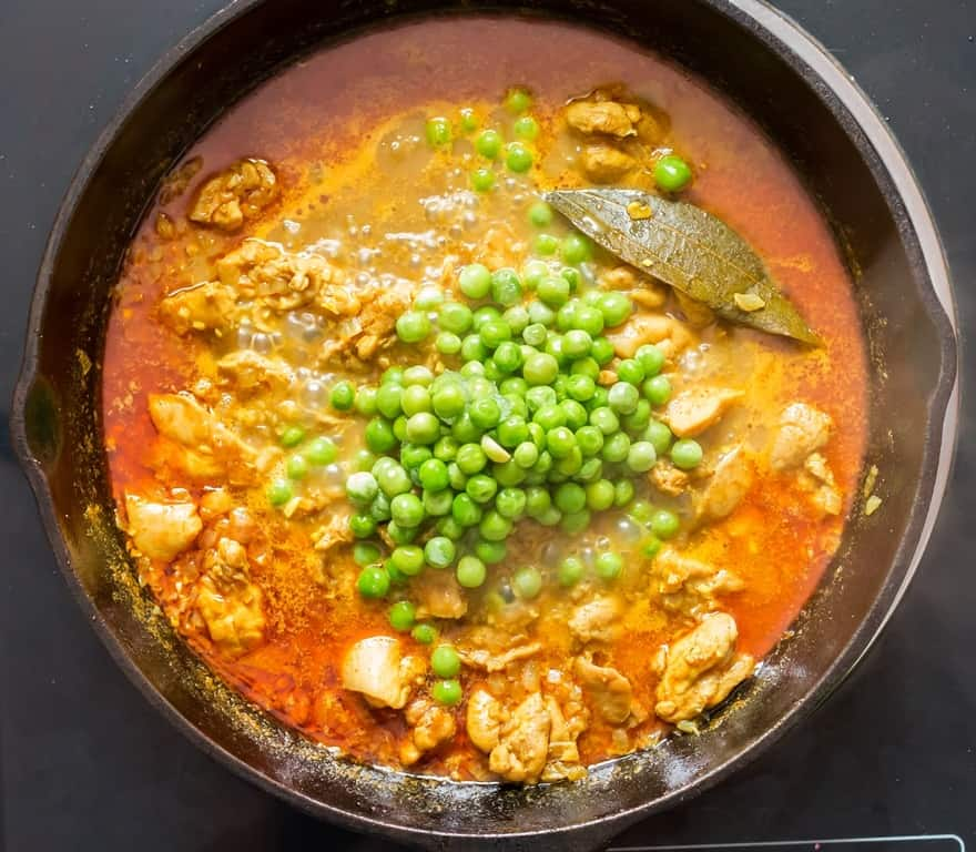 added frozen peas to chicken curry recipe