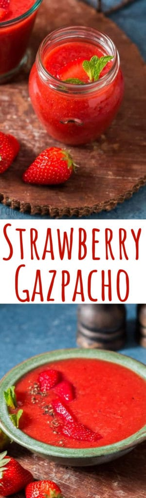 cold strawberry gazpacho soup served in glass jars with mint leave garnish and text overlay