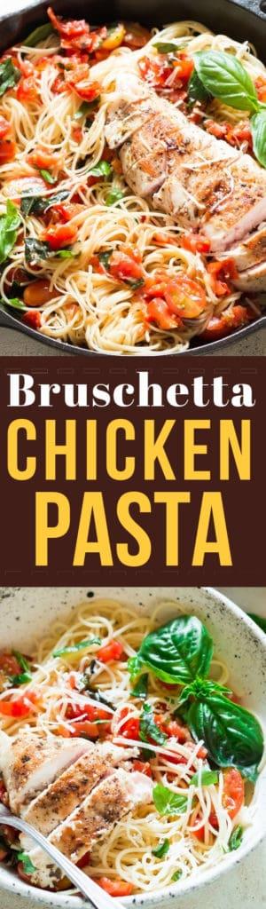 bruschetta chicken pasta salad with text overlay