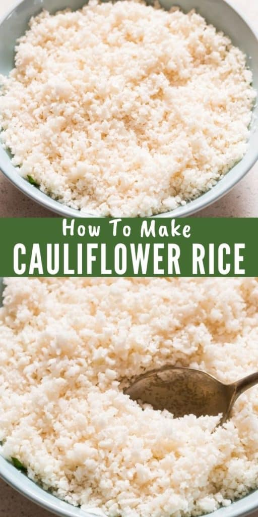 how to make cauliflower rice in food processor with text overlay