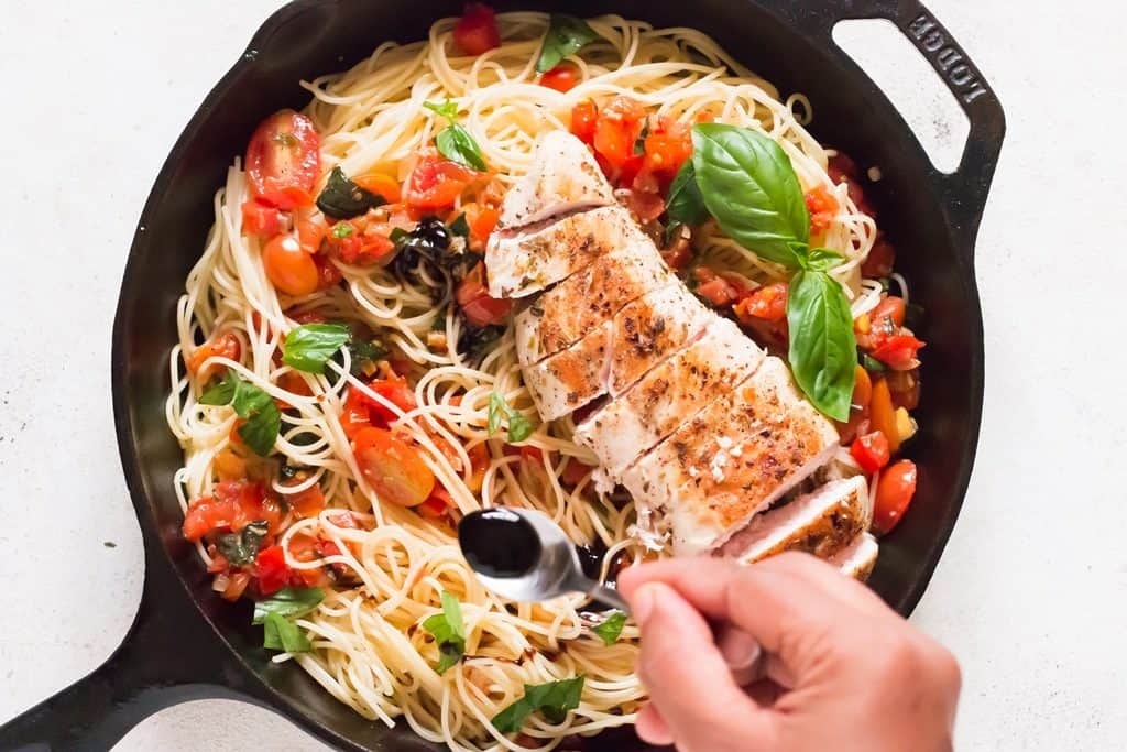 balsamic glaze drizzled over bruschetta chicken pasta