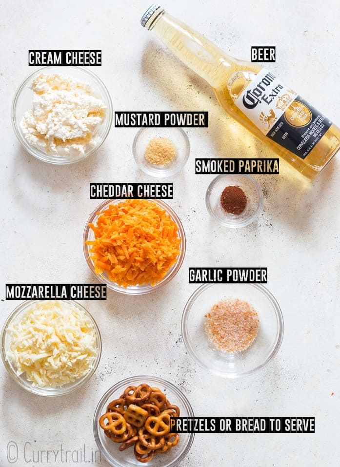 ingredients for beer cheese sauce recipe