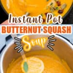 healthy butternut squash soup cooked in instant pot served in black ceramic bowl with text