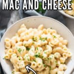 mac and cheese cooked in instant pot served in white bowl with text