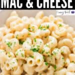 creamy mac and cheese cooked in instant pot with text