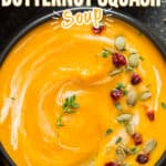 instant pot butternut squash soup in black ceramic bowl with text