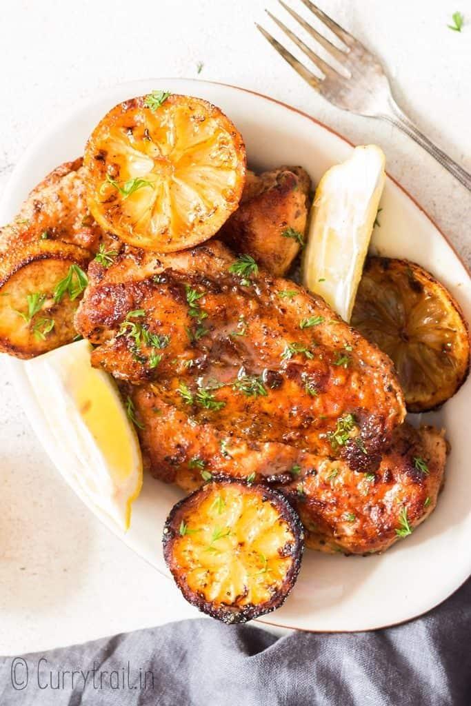 lemon pepper chicken with caramelized lemons