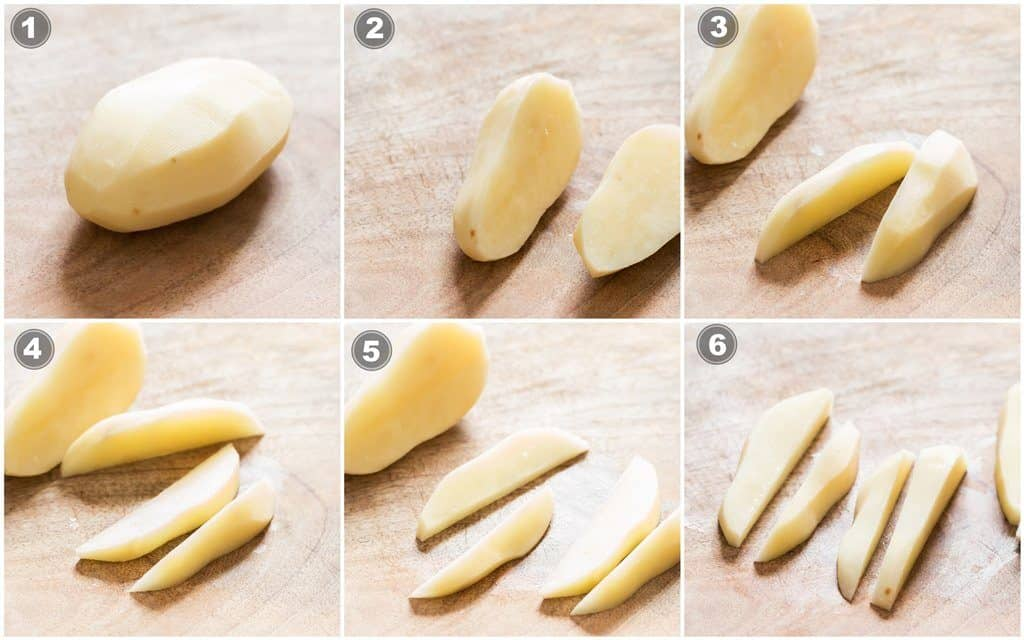 step by step picture collage on how to cut potatoes