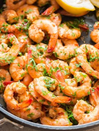 garlic butter shrimp cooked in skillet