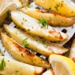 baked Greek potatoes with lemon garlic chicken broth