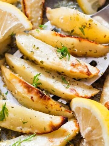 baked Greek potatoes with lemon garlic chicken broth