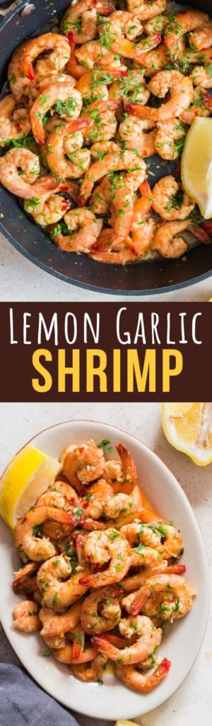 lemon garlic butter shrimps with text overlay