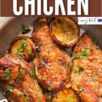 spicy lemon pepper chicken cooked in skillet with text overlay
