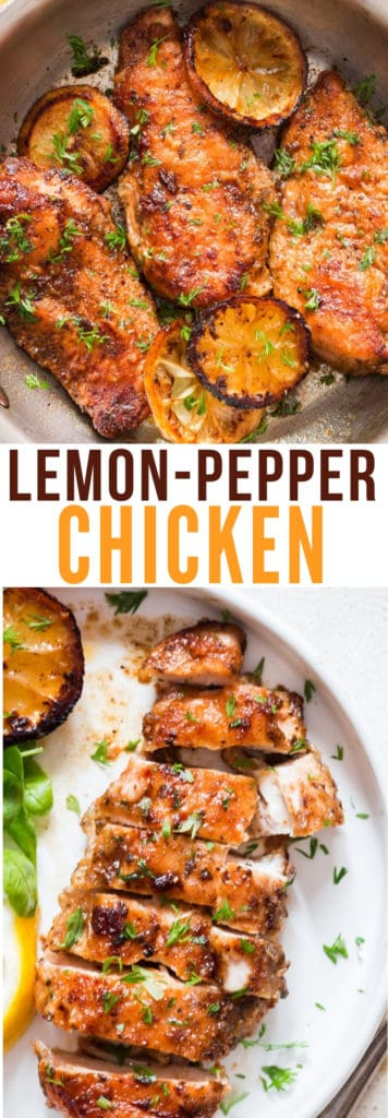 lemon pepper chicken with text overlay
