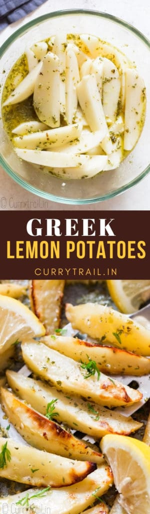 Oven roasted lemon greek potatoes with text overlay