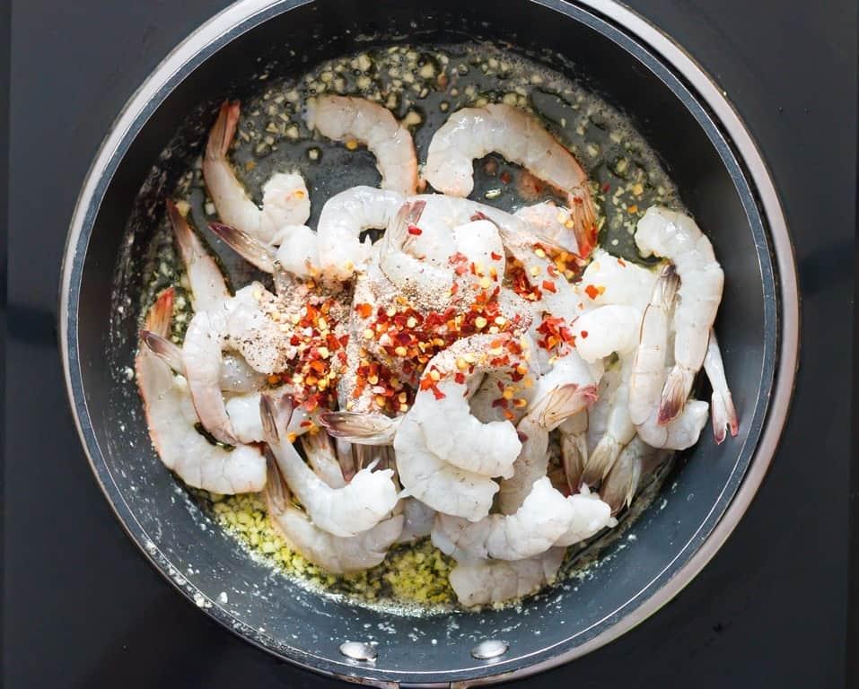 Seasoninbg added over shrimps